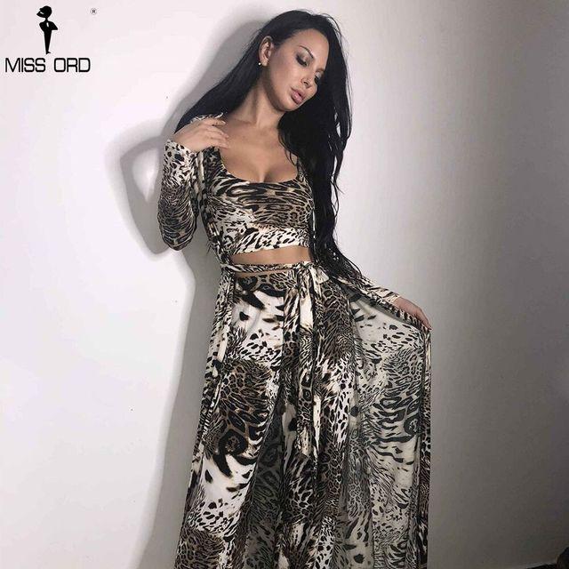 Missord 2018 Autumn And Winter Women Sexy  Cloak Three Pcs Set  Print Female Elegant Party Jumpsuit FT9704-1