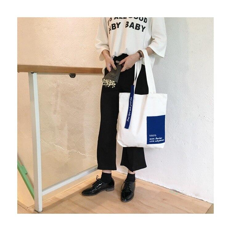 YILE Cotton Canvas Shoulder Bag Eco Shopping Tote Contrast Color Outer Pocket WJ7204