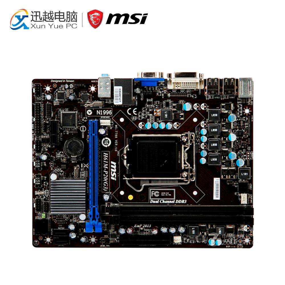 MSI H61M-P20(G3) Desktop Motherboard H61 Socket LGA 1155 i3 i5 i7 DDR3 16G SATA2 Micro-ATX gigabyte ga h61m d2p b3 desktop motherboard h61m d2p b3 h61 lga 1155 i3 i5 i7 ddr3 16g micro atx
