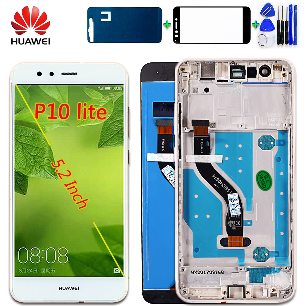 Huawei Assembly Digitizer Glass-Panel Touch-Screen-Frame Lcd-Display P10-Lite With Free-Tempered-Glass
