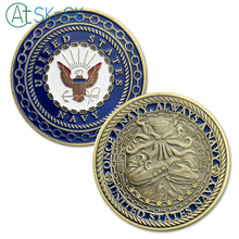 1PCs United States Navy Challenge Coin Octopus Coins Collectibles Once A Always U.S. Commemorative