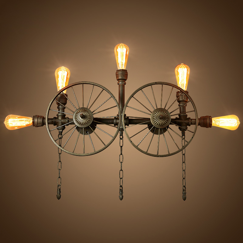 Retro Water Pipe Industrial Wind Wall Lamp Guest Restaurant Aisle Creative Personality Bar Wrought Iron Wheel Wall Lamp Lw428305
