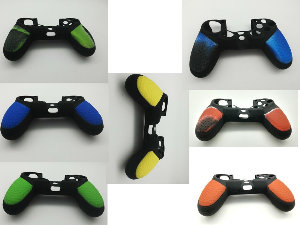 Soft Silicone Cover Skin Rubber Grip Case Yellow and Black For Sony Playstation 4 Dualshock 4 Controller PS 4 Console