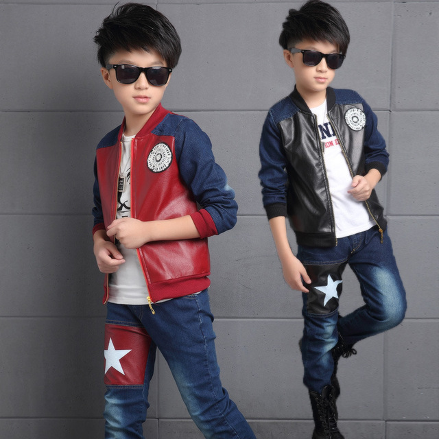 Conjuntos muchachos de la Ropa Trajes Para Niños Casual Chaqueta Denim Patchwork de Cuero de Imitación Jeans Kid Chándales Ropa de Primavera Otoño