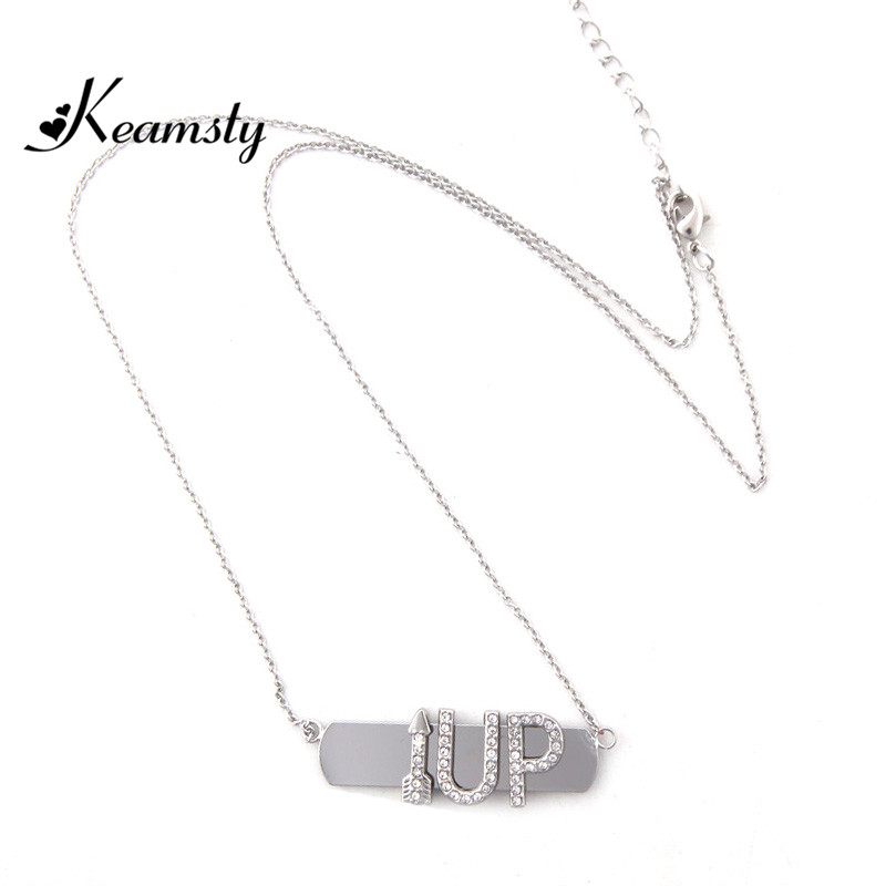 Keamsty New Fashion Keeper Necklace Set with UP Letter and Arrow Crystal Keeper Charms Link Chain Women Necklace
