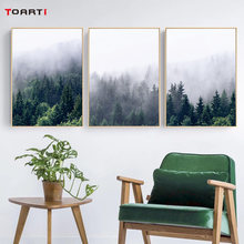 Nordic Fog Forest Poster And Print Abstract Landscape Canvas Art Painting Modular Wall Picture For Living Room Modern Home Decor(China)