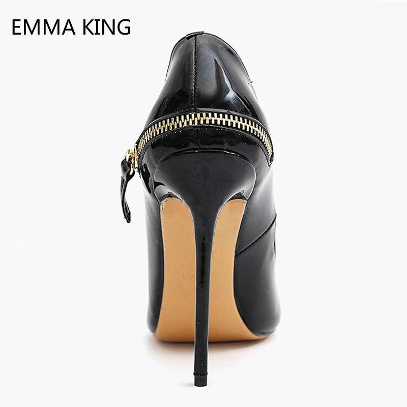 Cuir Sur Zip Ville Chaussures Glissement Dames Printemps Pompes En Pointu Picture De Bout As 10 Aiguilles Femmes Hauts Talons Cm 12 Noir wUPAqTBq