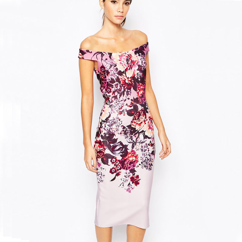 2016 New Arrival Fashion Print Midi Dress Sleeveless Summer Style Floral Pencil Dress Elegant
