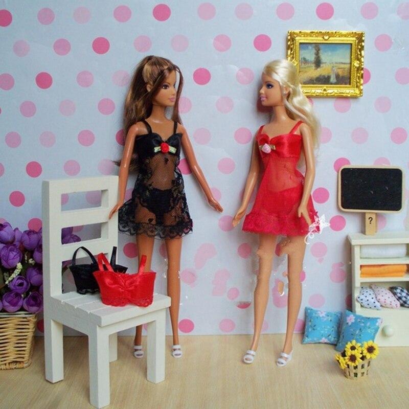 4sets / lot seksi pidžama donje rublje čipke kostime + grudnjak + - Lutke i pribor - Foto 4