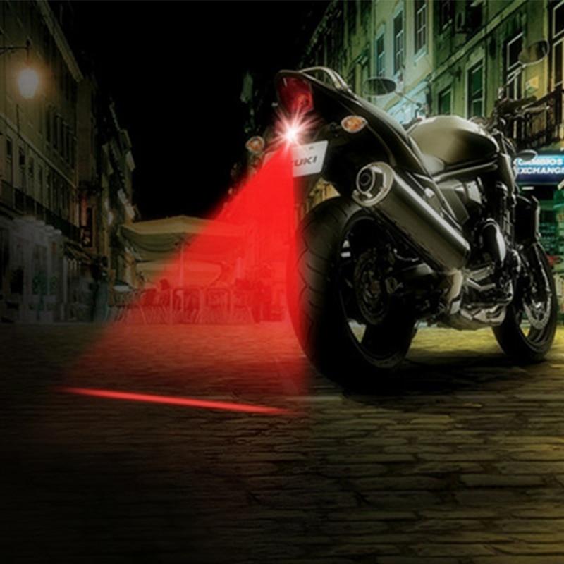 LED Motorcycle Laser Fog Lights Anti Collision Warning Light Rear-end Tail Lamps Motorbike Brake Parking Bulbs Motor Styling