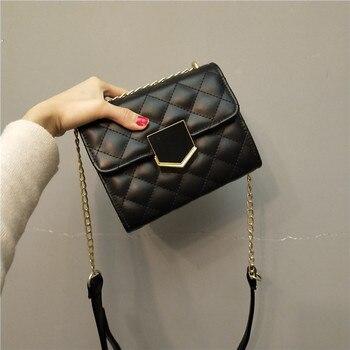 BENVICHED Ladies' pu bag 2020 new spring fashion Diamond grain chain black square handbag Inclined single shoulder c436 - discount item  38% OFF Women's Handbags