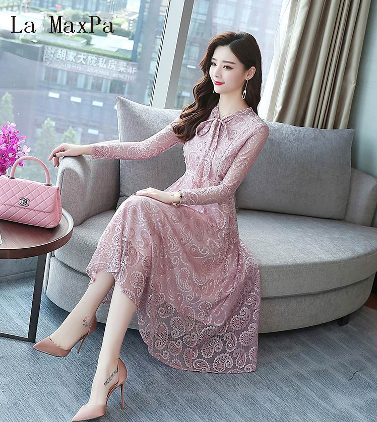 US $16.69 44% OFF|2018 Autumn Winter New 2XL Plus Size Vintage Lace Black  Midi Dresses Women Bodycon Pink Dress Party Long Sleeve Runway Vestidos-in  ...
