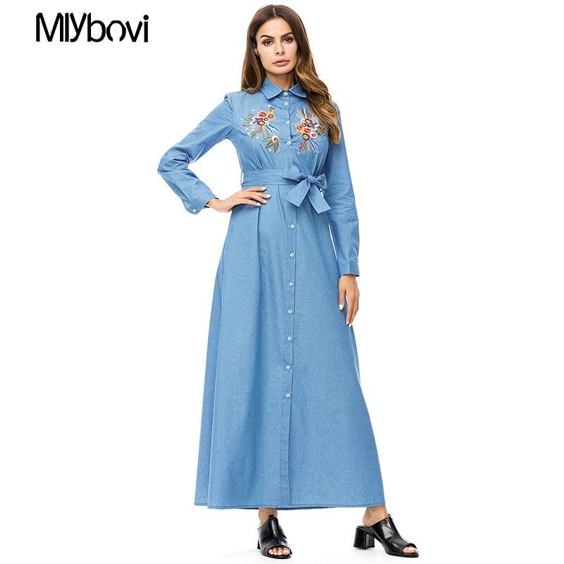 Di Signore Manica Linea Vestito Una Maxi Modo Marocchino Vintage Autunno  Casual Inverno 2018 Lungo Ricamo Del Delle Blu Etnico Donne wwgxS8Pq d8c81df7cc7