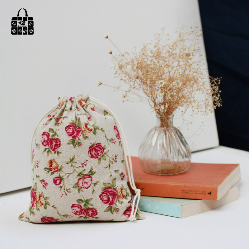 1 pcs Vintage rose cotton linen fabric dust bag Clothes travel Storage bag portable organizer home Sundry kids toy storage bag