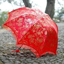 2019 New Chinese Modis Wedding Umbrella Fashion Red Rose Print Bride Umbrellas Rain Lady Lace Parasol Folding Paraguas SP079