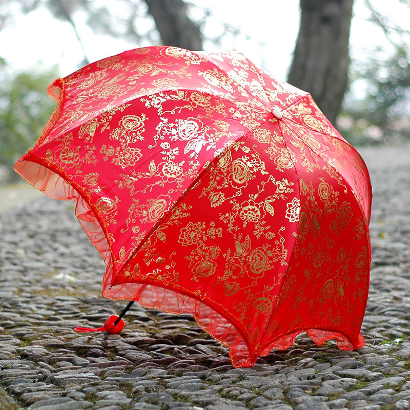 Новинка 2019, китайский модный Свадебный зонт, женские зонтики с рисунком, дождевой зонтик для невесты, кружевной зонтик, модель SP079 Зонтики    АлиЭкспресс