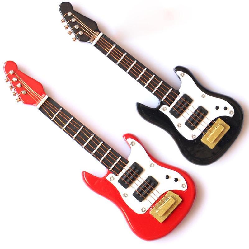 1:12 Dollhouse Electric Guitar Dollhouse Simulation Model Miniature Instrument Decor Metal Wood Furniture Craft Ornament