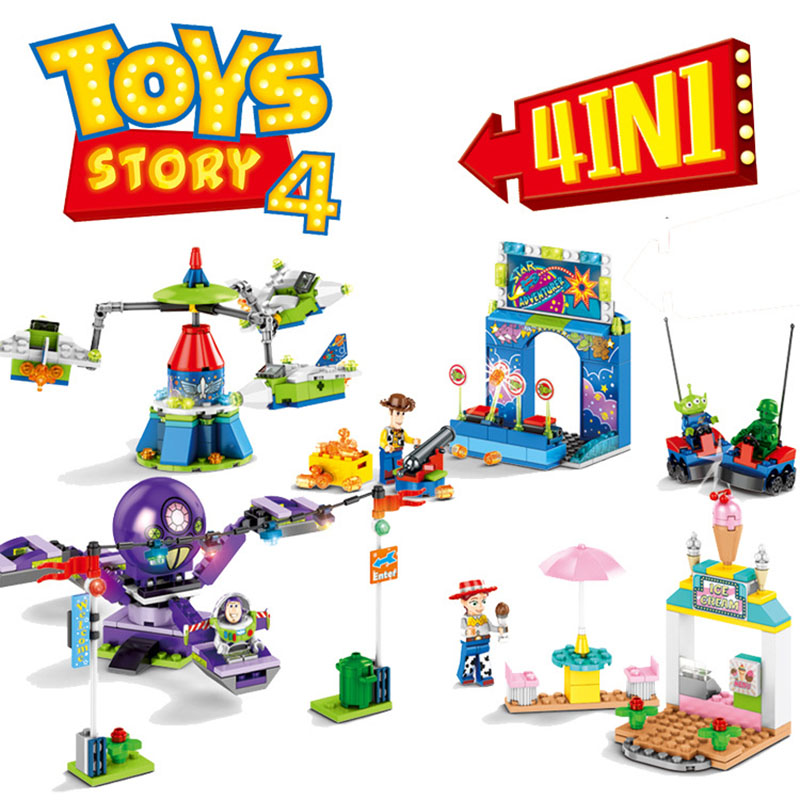 4PCS Toy Story 4 Amusement Park Block Set  Woody Buzz Lightyear Building Bricks Kids Toys  No Box