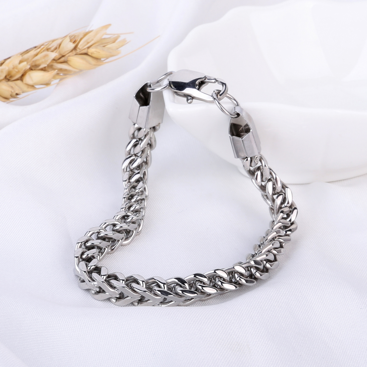 Mens Stainless Steel Bracelet Hip Hop Silver Plated Lobster Clasp Link Chain Bracelets & Bangles Fashion DIY Jewelry 22cm