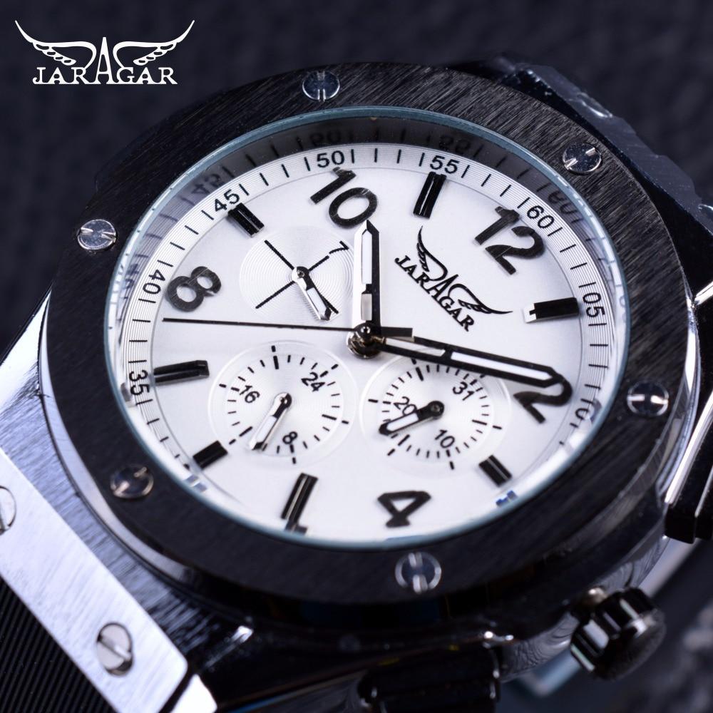 Jaragar Luxury Stainless Steel Design 3 Dial 6 Hand Men Watch Top Brand Luxury Automatic Mechanical Watches Silicone Wrist Watch все цены