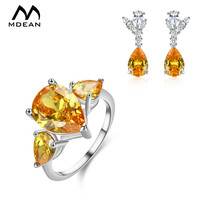 MDEAN Jewelry Sets Square Yellow AAA Zircon Engagement Vintage Ring Earring Accessories For Women Luxury Wedding