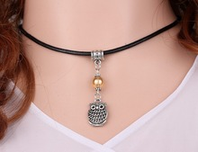 Lovely Owl&Glass Bead Charm Vintage Silver Choker Collar Leather Necklace Pendant DIY Jewelry For Women Clothing Brand HOT A116