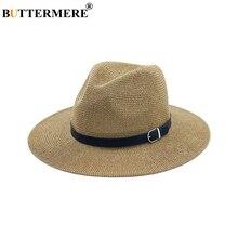 BUTTERMERE Beach Straw Hat Brown Women Mens Wide Brim Elegant Panama Fedora Female Casual Fashionable Summer Sun Hats