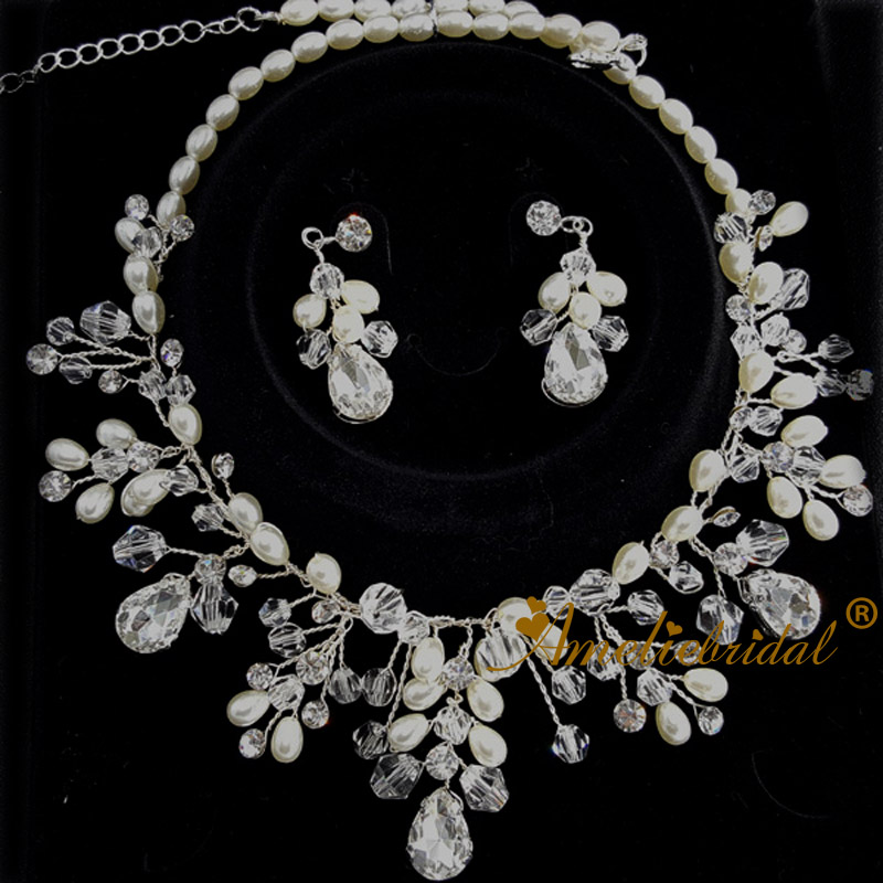 Bridal Matching Necklace /& Earring Set  Prom Jewellery Wedding Occasional Party
