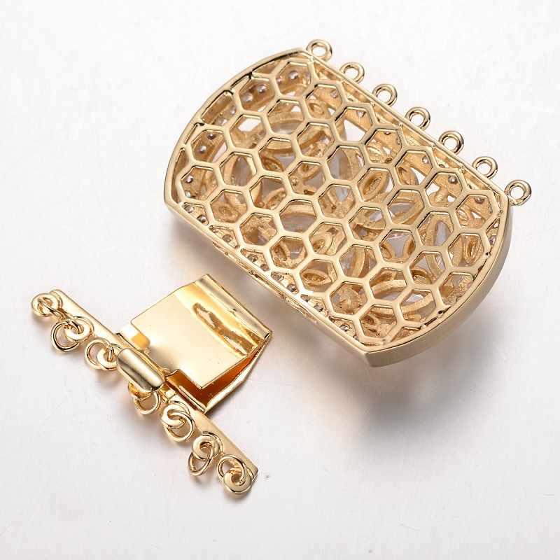 2 define Zirconia Cúbico de Bronze Fechos De Caixa, Cádmio Free & Níquel Free & Lead Free, Retângulo, 3 cor, 34x43x9mm, Furo: 1.5 & 2.5mm