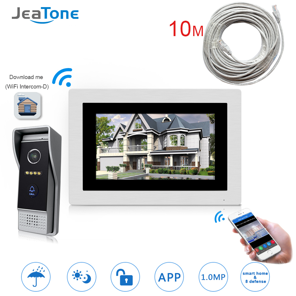 7'' WIFI IP Door Phone Video Intercom Wireless Door Bell Door Speaker Access Control System Touch Screen Motion Detect +10M Wire 7 inch password id card video door phone home access control system wired video intercome door bell