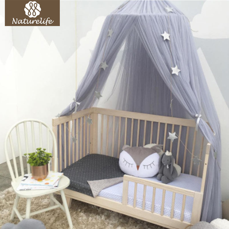 Naturelife Round Baby Bed Mosquito Net Dome Hanging Cotton Bed Canopy Mosquito Net Curtain For Hammock Baby Kids Dossel ...