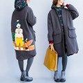 Плюс Размер 2016 Осень Европейская Мода Женский Шаблон Печати Zip до Флис Верхняя Одежда Дамы Женский Большой Длинный Толстый Теплый Траншеи пальто
