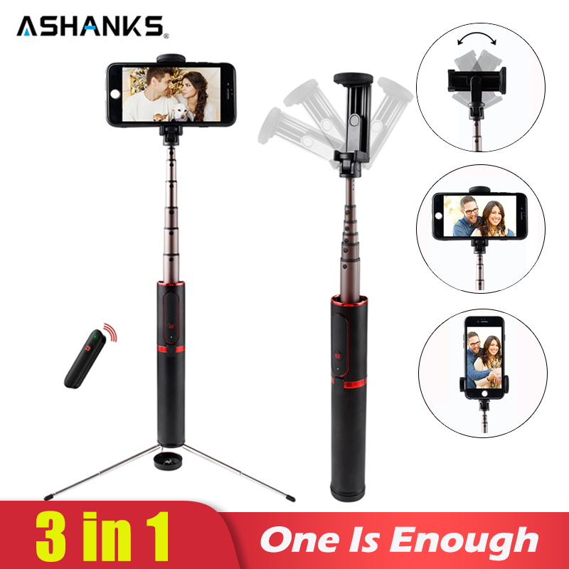 ASHANKS Bluetooth Selfie Stick Mini Stativ 3 in 1 Einbeinstativ Selfie Stick Bluetooth Wireless Remote Shutter für Android & Iphone