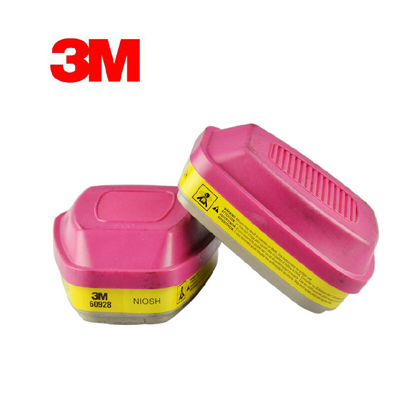 3M 60928 Organic Vapor/Acid Gas Cartridge/Filter P100 Standard Respiratory Protection Against CL2/HCL/SO2/H2S YY0000 3m 6002 acid gas cartridge respiratory protection niosh approved against certain acid gas cl2 so2 hcl h2s use with 3m mask m848