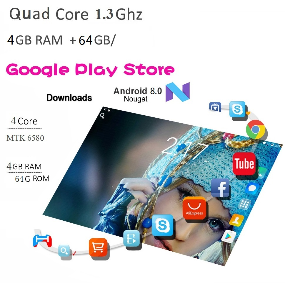 10 1 inch Tablet Pc Eight Core 2019 Original 1920 1080 Android 3GB RAM 32GB ROM IPS Dual SIM Phone Call Tab Phone pc Tablets in Tablets from Computer Office