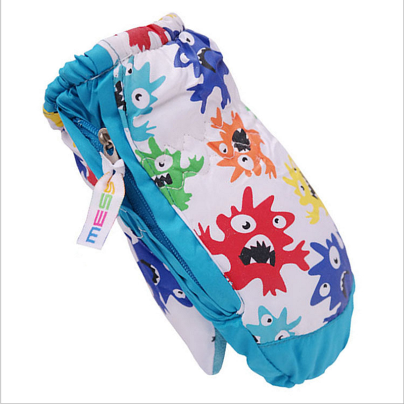 4-5Y Kids Winter Warm Gloves Children Boys Girls Printed Waterproof Windproof Outdoor Gloves With Side zipper