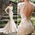 2015 New Arrival Dubai Evening dress Full Sleeves Open Back Embroidery Beaded Luxury Fashion Celebrity Evening Dresses Long