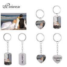 Personalized Customized Military Card Heart Keychain Stainless Steel Silver Color Tag Charm Key Chain Engrave Words Jewelry Gift