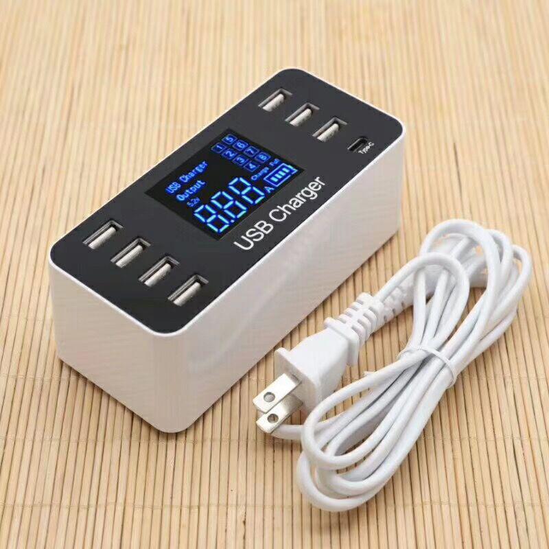 DSstyles 8 puertos USB tipo C 5 V/8A hembra cargador con corriente de voltaje de pantalla LCD para móvil inteligente PC de la tableta del teléfono