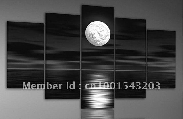 hand-painted oil wall art Sea full moon night home decoration abstract Landscape oil painting on canvas 5pcs/set