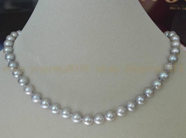 Горячие продажи новый Стиль>>>>> Настоящее Природный 8-9 мм Южного Моря Серебристо-Серый Жемчуг Ожерелье Чистого Серебра Застежка А. А.