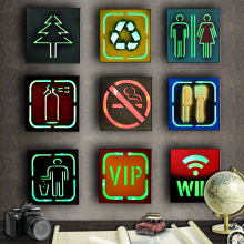 WIFI WC VIP No Smoking Indicator Neon Light Signs Glass Tube for Shop Bar Home Bussiness Party LED