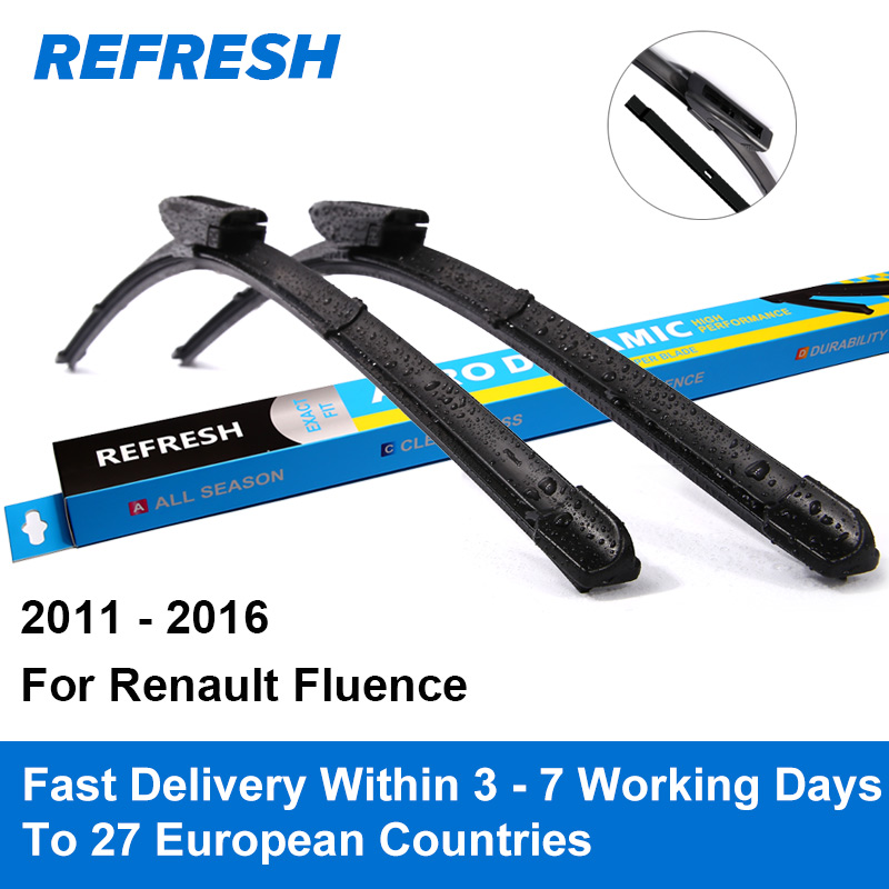 Refresh Wiper Blades for Renault Fluence 24 16 Fit Bayonet Arms 2011 2012 2013 2014 2015 2016