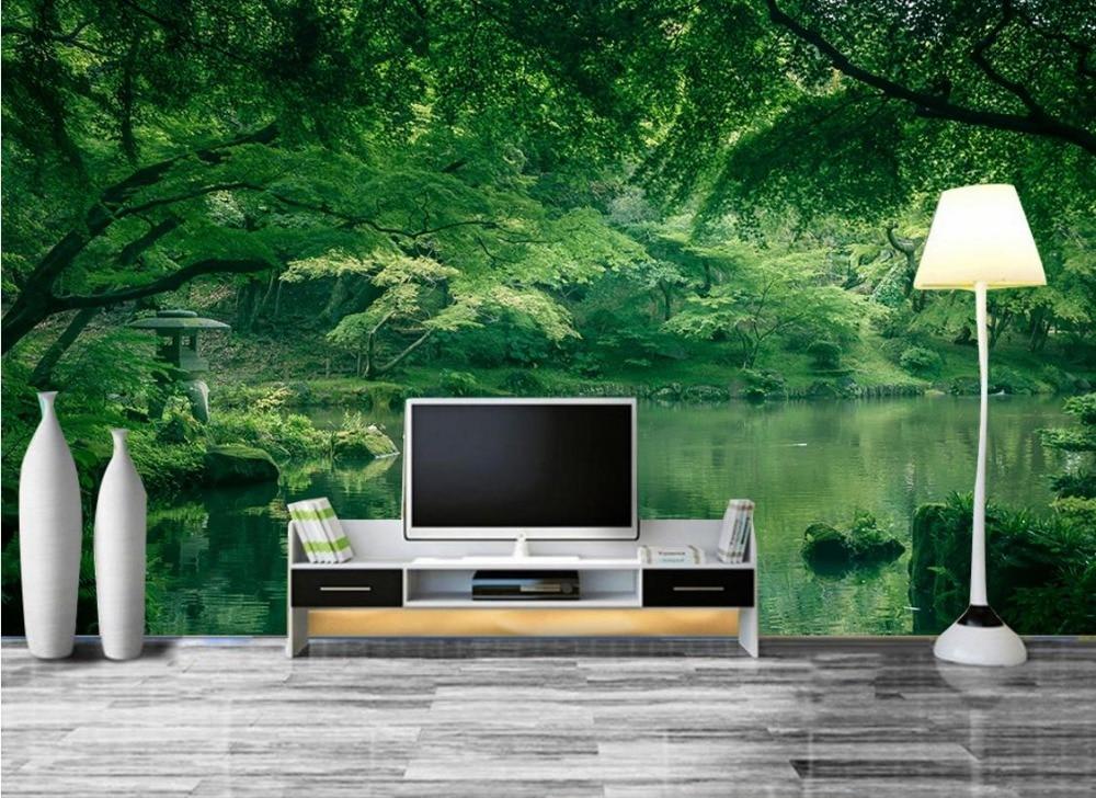 Mooie Eenvoudige Moderne 3d Kamer Behang Landschap groene slaapkamer ...