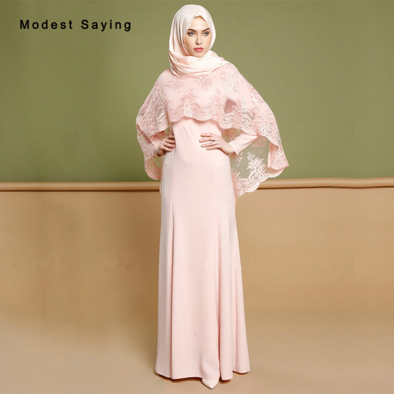 Elegant Pink Mermaid Muslim Lace Spandex   Evening     Dresses   2018 with Jackets Grey Long Sleeve Party Prom Gowns vestidos de festa