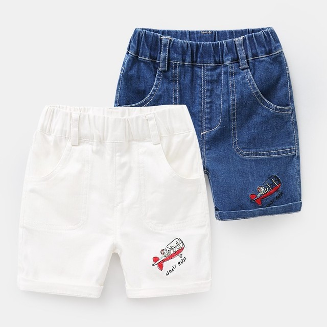 nuevo estilo e9540 9ac92 De niño, pantalones cortos de mezclilla verano los niños del bebé blanco  azul Curling vaqueros cintura elástica bolsillos ropa 2 T 8