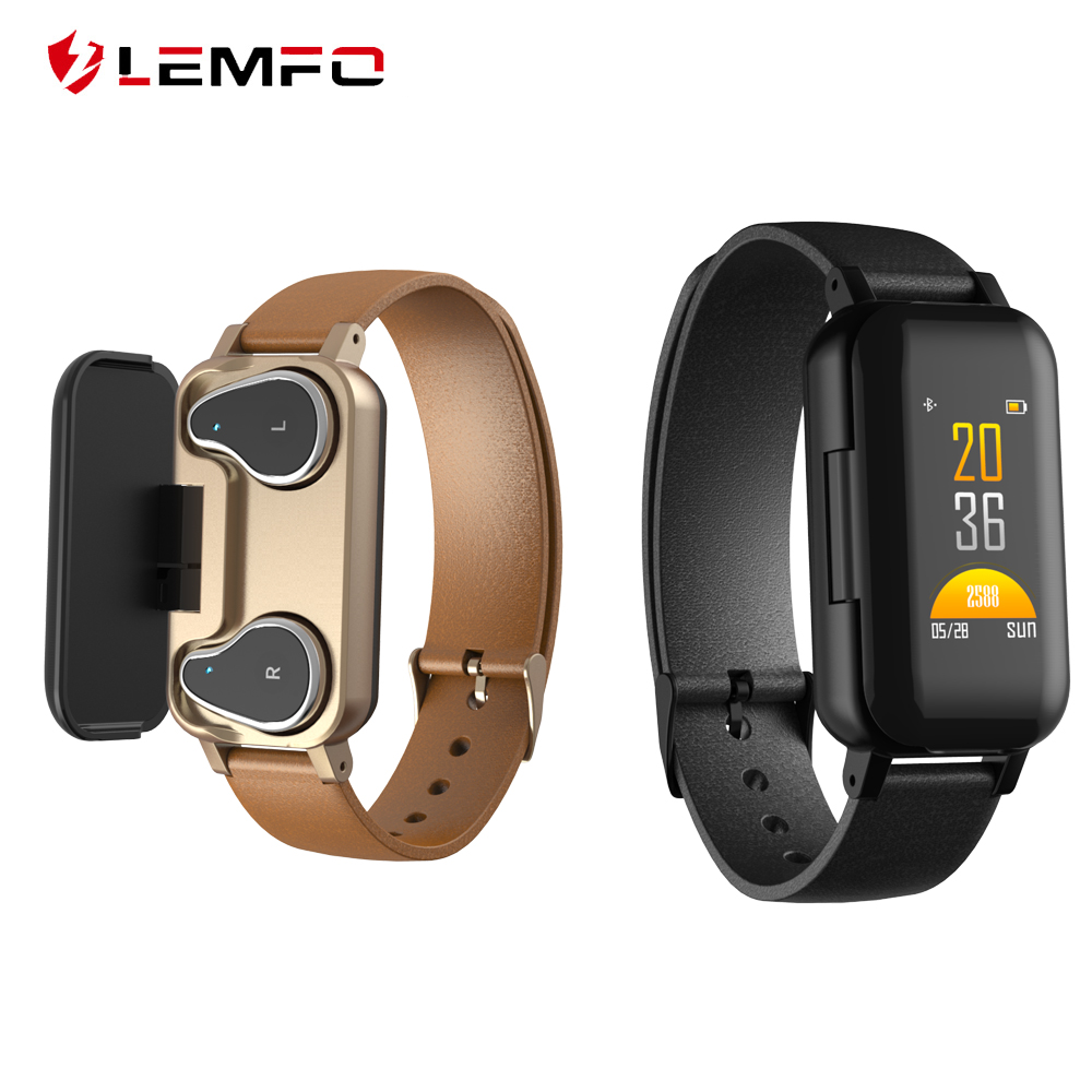 LEMFO <font><b>T89</b></font> <font><b>TWS</b></font> Smart Binaural Bluetooth Headphone Fitness Bracelet Heart Rate Monitor Smart Wristband Sport Watch Men Women image