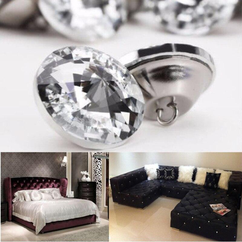 Free Shipping 10pcs/30Pcs 25mm Crystal Rhinestone Diamond Shape Round Buttons Tufting Sofa...