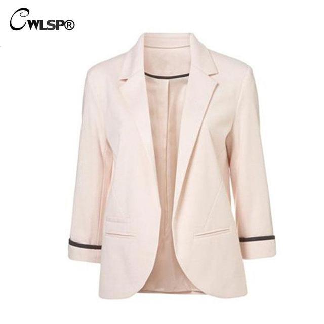 Más el tamaño 2XL 2016 Moda Otoño Mujeres Blazer Slim Fit Chaquetas Abrigos Outwears 12 Colores QL2626 Muescas de Manga Tres Cuartos