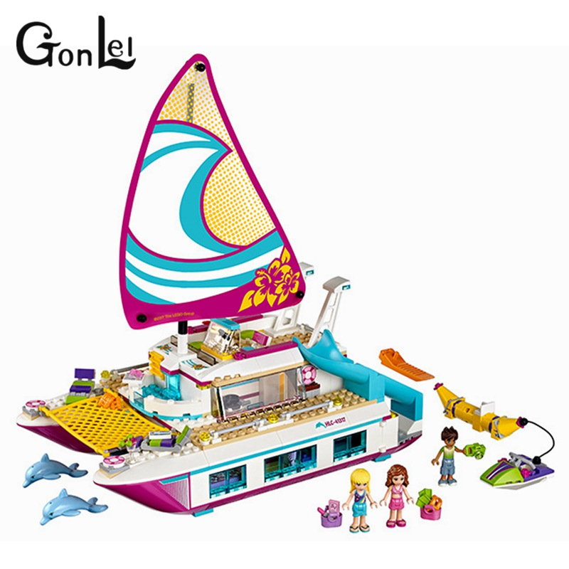 GonLeI 651pcs Friends Girls Series Building Blocks toys Sunshine legoings Catamaran kids Bricks girl gifts Heartlake city 37037 651pcs diy friends girl series building blocks sunshine catamaran kids bricks toys for children gifts compatible with legoingly